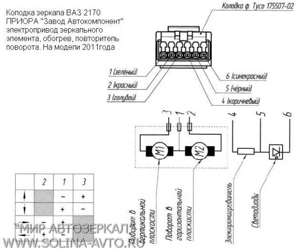 Схема подключения поворотников зеркал